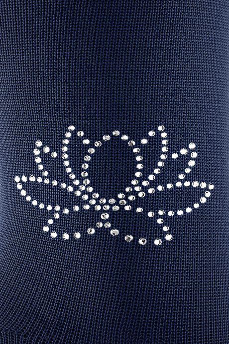 Swarovski Kristalle auf Flachstrick Strümpfen Seerose